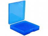 Krabička na 100 nábojů (.22-250Rem, 243Win, 6mm Rem, 250Sav, 308Win, 300Sav, 7mm Br, 7.62x39, 35RemMag, 45-70Govt, 445SuperMag) - modrá