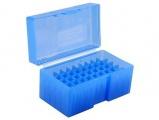 Krabička na 50 nábojů (243Win, 25Sav, 35Rem, 445SuperMag) - modrá