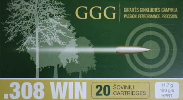 GGG náboj .308 WIN - 180grn SBT (spitzer boat tail)