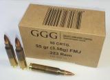 GGG náboj .223 REM - FMJ 55grn (3600 a více ks) PAPÍROVÉ BALENÍ