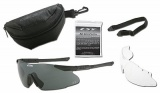 Ochranné brýle ESS ICE-2 - černý rám, dvě výměnná skla - čirá, kouřová